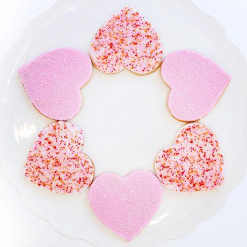 a dozen Valentine cookies
